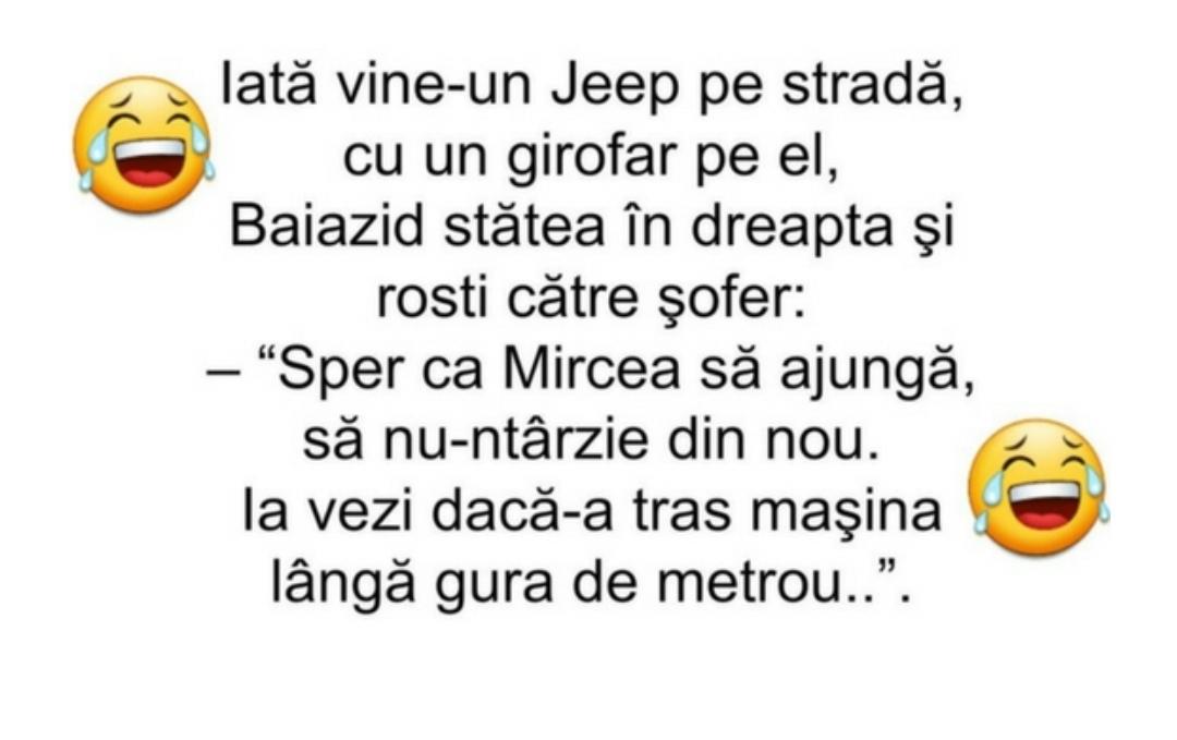 """Iată vine-un Jeep pe stradă, cu un girofar pe el, Baiazid stătea în dreapta şi rosti către şofer: """"Sper ca Mircea să ajungă, să nu-ntârzie din nou."""